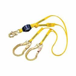 3M DBI-SALA Fall Protection 1246024 EZ-Stop™ Fixed Tie-Off Shock Absorbing Lanyard, 130 to 310 lb Load, 6 ft L, Polyester Webbing Line, 2 Legs, Rebar Hook Anchorage Connection, Snap Hook Harness Connection Hook