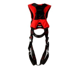 3M Protecta Fall Protection 1161419 Harness, XL, 420 lb Load, Polyester Strap, Tongue Leg Strap Buckle, Pass-Thru Chest Strap Buckle, Steel Hardware, Black