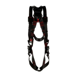 3M Protecta Fall Protection 1161500 Harness, XS, 420 lb Load, Polyester Strap, Tongue Leg Strap Buckle, Quick-Connect Chest Strap Buckle, Steel Hardware, Black